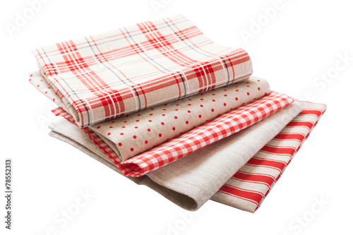 Stack of colorful dish towels - 78552313