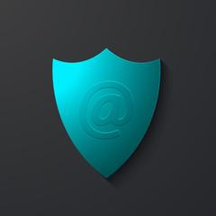 Vector modern shield icon on gray