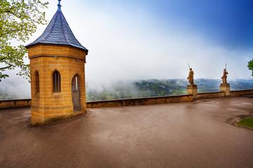 Wet inner yard of Hohenzollern castle in haze