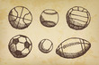 Ball sketch set with shadow on old paper