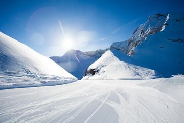 Beautiful winter ski-track near Caucasus mountains