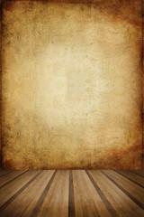 Retro grunge texture background with wooden floor platform foreg
