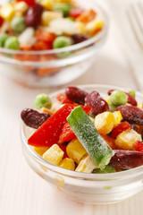 Bowl of colorful frozen vegetables
