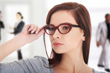 Young beautiful woman wearing eyeglasses.