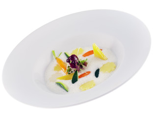 vegetables in frothy lemon sauce