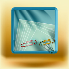 icon with clips and paper