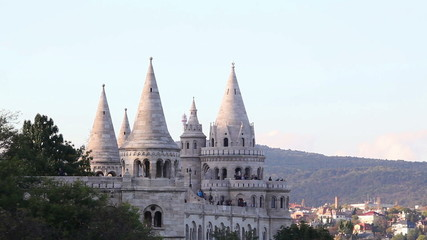 Fisherman bastion in Budapest, Hungary in the evening