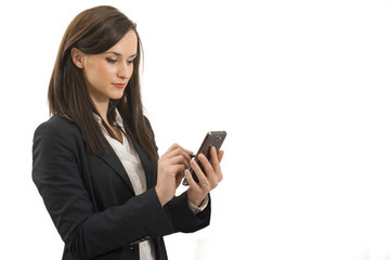 Young businesswoman look at cellphone