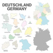 german map with regional boarders - federal states - high detail
