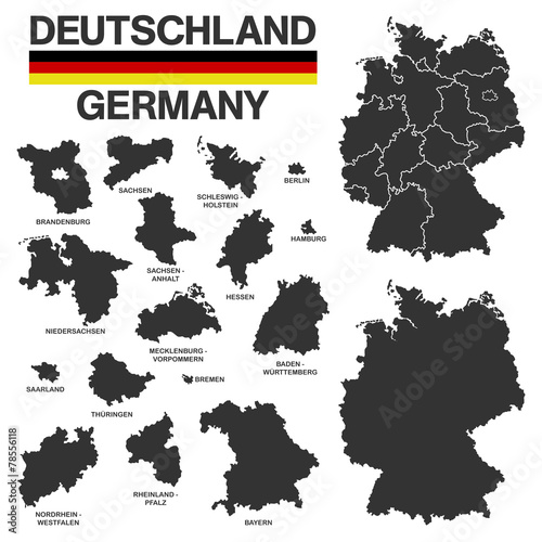 Fototapeta german map - high details