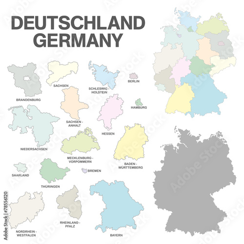 Fototapeta german map with regional boarders - federal states - high detail