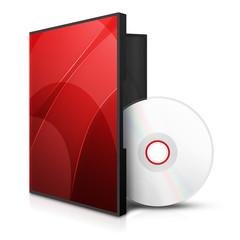 Czerwona ikona dysku z pudełkiem
