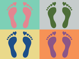 Four heart footprints on colorful background