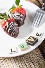 Plate of Chocolate Strawberries Love