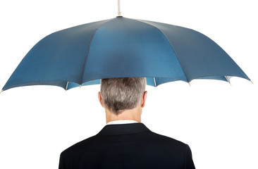 Back view businessman with umbrella