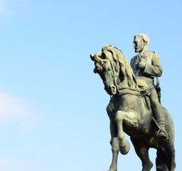 Statue representing the General Joan Prim on a horse in Barcelon