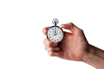 stopwatch hold in hand, button pressed, white background