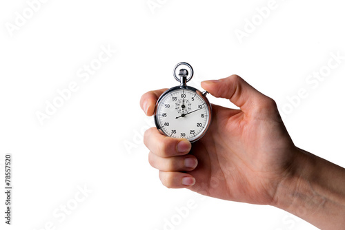 stopwatch hold in hand, button pressed, white background - 78557520