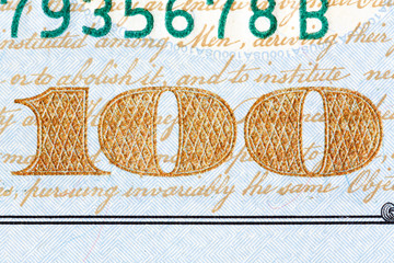 Detail of the newly design U.S. one hundred dollar bill.
