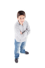 Smiling preteen boy seen from above standing