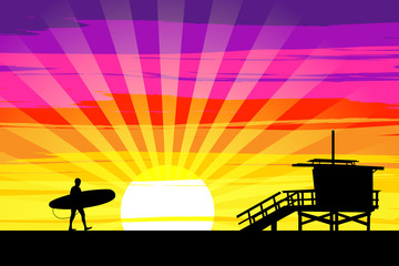 Surfer Walking into the Sunset on Venice Beach, Los Angeles, Cal