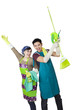 Cheerful couple with spring cleaning tools