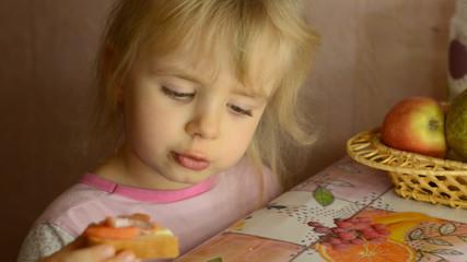Funny Cute Little Girl Eat Salmon Fish
