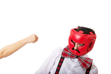 Angry woman slapping across man's face.