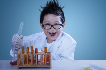 Crazzy scientist doing experiment