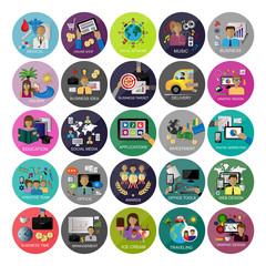 Flat Icons Set For: Web Design, Social Media, Digital Marketing