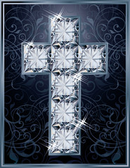 Cross diamonds cover design, vector illustration