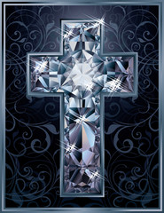 Christian Cross diamond card, vector illustration