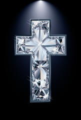 Christian Cross diamond religion, vector illustration