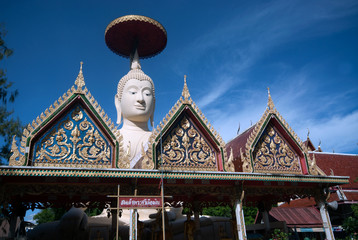 Outdoor of famous large sitting Buddha in Thai Temple.