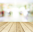 Perspective wood and blurred store with bokeh background