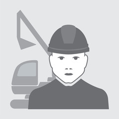 vector illustration of excavator operator with digger