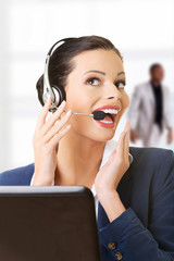 Beautiful call-center assistant