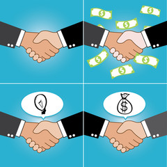 handshake cartoon set, business concept, vector
