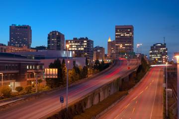 Highway Into Downtown Tacoma Washington City Skyline