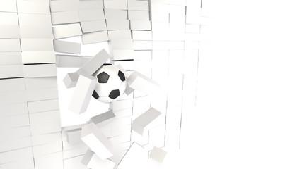 壁を突き破るサッカーボール