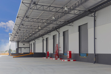 cargo doors at big warehouse with fire Equipment