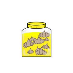 Bottle garlic perserved in salt water