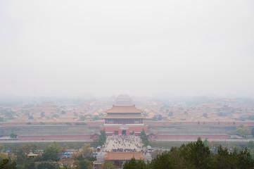 Forbidden City shrouded in pollution from Jingshan Park, Beijing