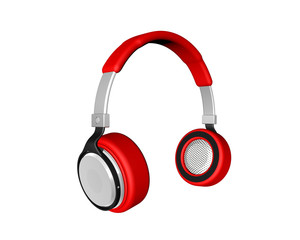 Red  headphones  Isolated on white background