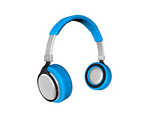 Blue  headphones  Isolated on white background