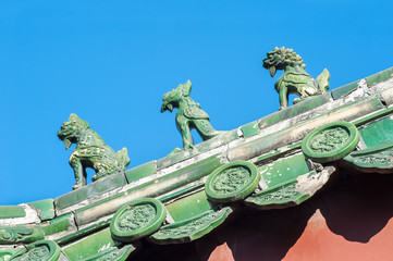 Ceramic figures on the roof of Beijing's Lama Temple