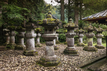 stone lanterns at Nikko Tosho-gu in Japan