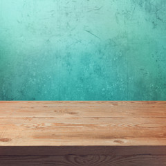 Vintage wooden table mock up template