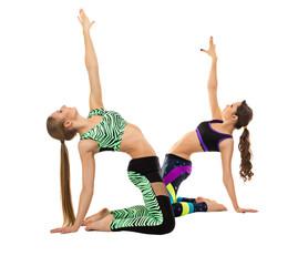 Attractive athletic girls posing at camera