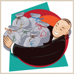 Vector illustration. Cheerful businessman with bags of money
